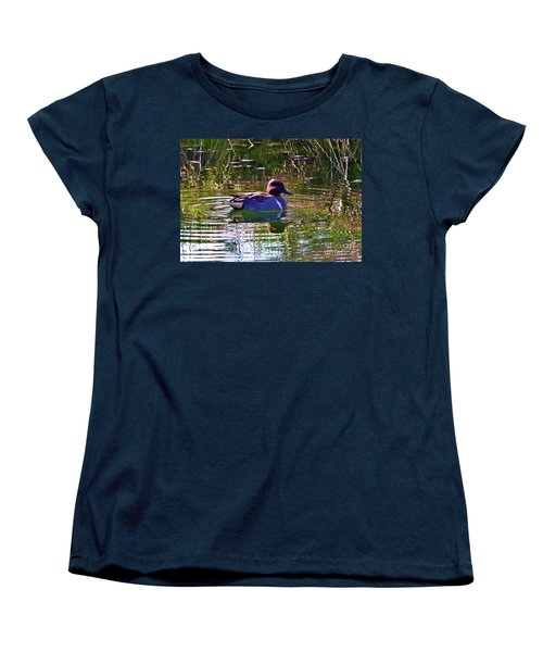 Women's T-Shirt (Standard Cut) featuring the photograph Red Headed Duck by Susan Garren