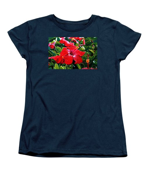 Red Hibiscus Women's T-Shirt (Standard Cut) by Marionette Taboniar