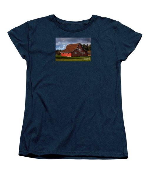 Women's T-Shirt (Standard Cut) featuring the photograph Red Kirsop Barn by Jean OKeeffe Macro Abundance Art
