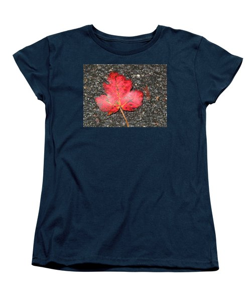 Women's T-Shirt (Standard Cut) featuring the photograph Red Leaf On Pavement by Barbara McDevitt