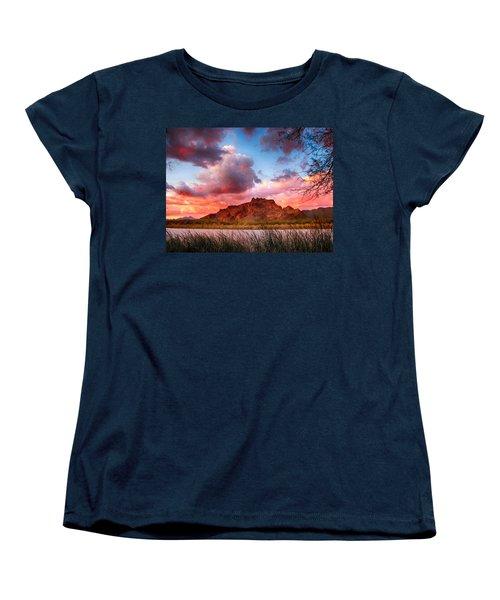 Red Mountain Sunset Women's T-Shirt (Standard Cut) by John Haldane