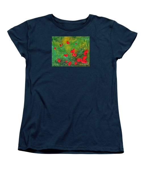Women's T-Shirt (Standard Cut) featuring the painting Red Poppies by Teresa Wegrzyn