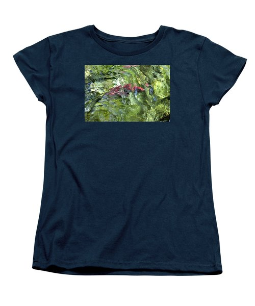 Women's T-Shirt (Standard Cut) featuring the photograph Red Salmon In Steep Creek by Cathy Mahnke