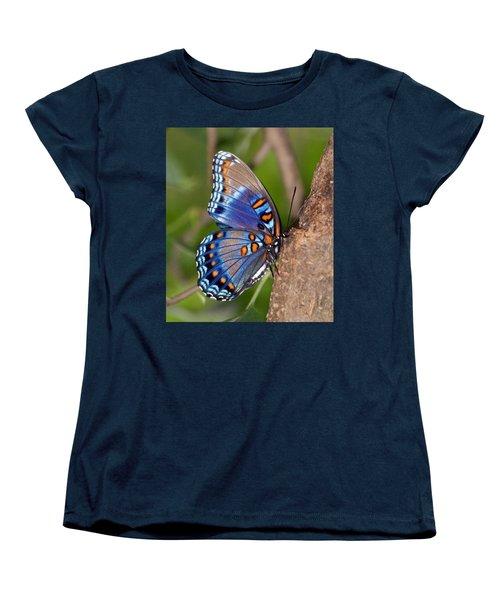 Red Spotted Purple Butterfly Women's T-Shirt (Standard Cut) by Sandy Keeton