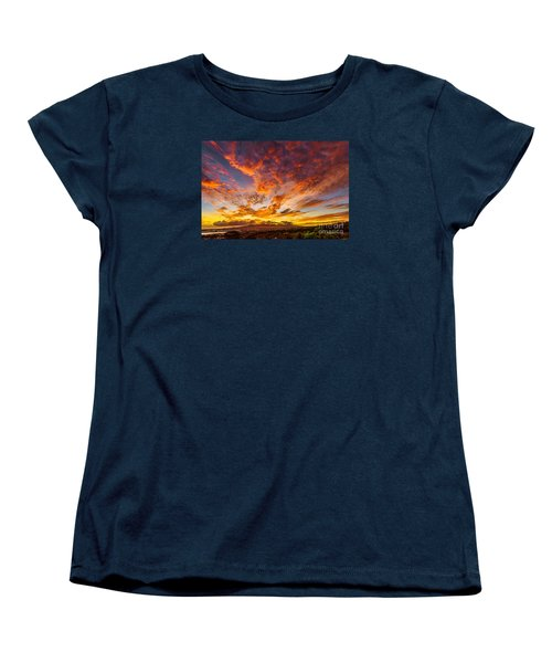 Women's T-Shirt (Standard Cut) featuring the photograph Red Sunset Behind The Waianae Mountain Range by Aloha Art