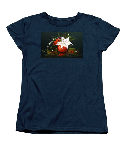 Women's T-Shirt (Standard Cut) featuring the painting Red Vase With Lily And Pansies by Dorothy Maier