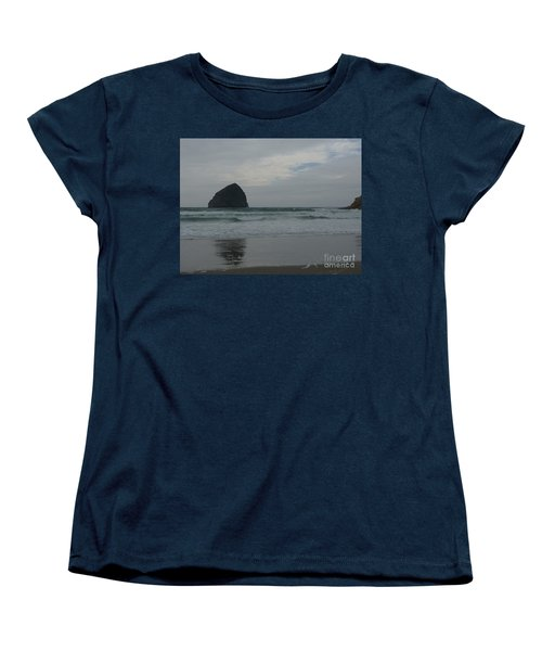 Women's T-Shirt (Standard Cut) featuring the photograph Reflection Of Haystock Rock  by Susan Garren