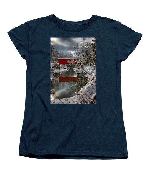 reflection of Slaughterhouse covered bridge Women's T-Shirt (Standard Cut) by Jeff Folger
