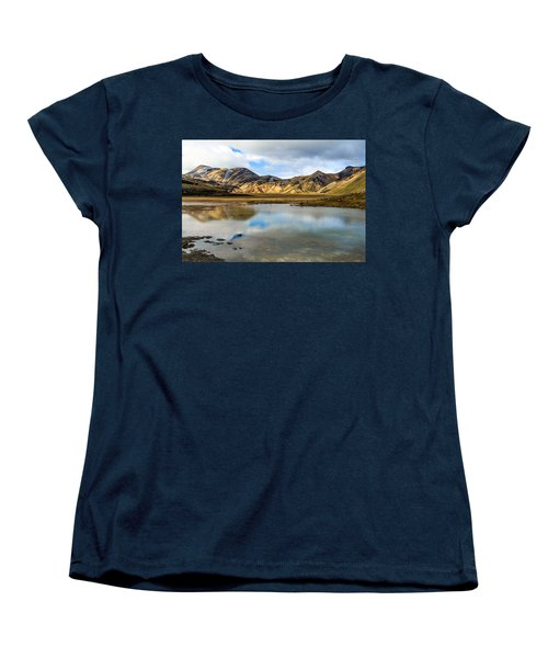 Women's T-Shirt (Standard Cut) featuring the photograph Reflections On Landmannalaugar by Peta Thames