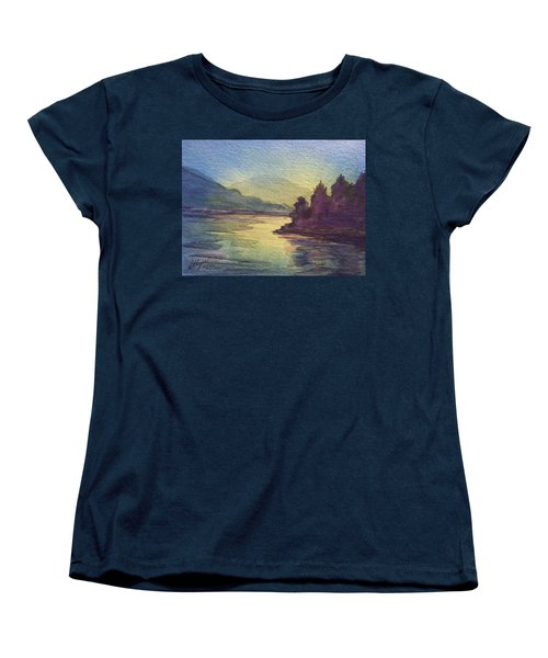 Women's T-Shirt (Standard Cut) featuring the painting Reflections On North South Lake by Ellen Levinson