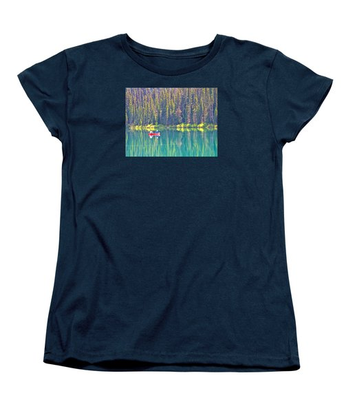 Reflective Fishing On Emerald Lake In Yoho National Park-british Columbia-canada  Women's T-Shirt (Standard Cut) by Ruth Hager
