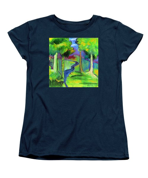 Women's T-Shirt (Standard Cut) featuring the painting Rendezvous Triptych by Elizabeth Fontaine-Barr