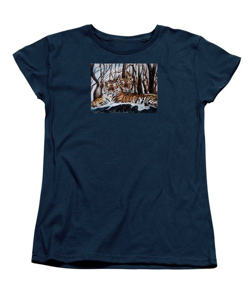 Women's T-Shirt (Standard Cut) featuring the painting Resting by Harsh Malik