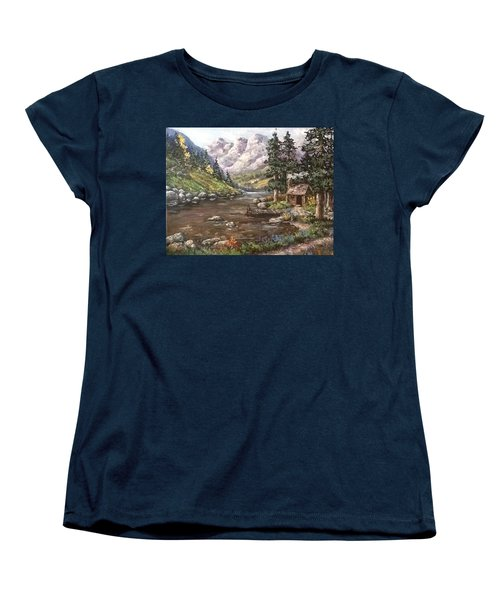 Women's T-Shirt (Standard Cut) featuring the painting Retreat by Megan Walsh