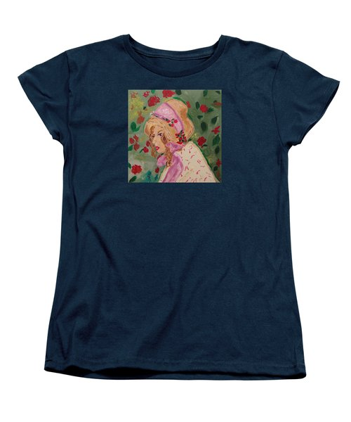 Women's T-Shirt (Standard Cut) featuring the painting Ribbons And Roses by Mary Carol Williams