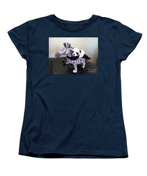 Women's T-Shirt (Standard Cut) featuring the photograph Riding A Zebra.traveling Pandas Series by Ausra Huntington nee Paulauskaite