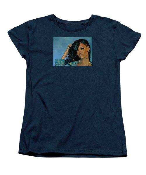 Rihanna Painting Women's T-Shirt (Standard Cut) by Paul Meijering