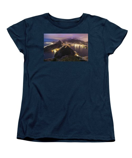 Rio Evening Cityscape Panorama Women's T-Shirt (Standard Cut) by Mike Reid