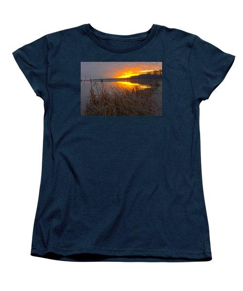 Women's T-Shirt (Standard Cut) featuring the photograph Rising Sunlights Up Shore Line Of Cattails by Randall Branham