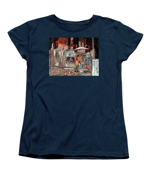 Women's T-Shirt (Standard Cut) featuring the painting River Antoine Rum Distillery by Laura Forde