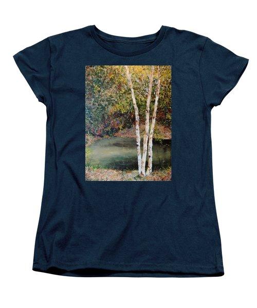 Women's T-Shirt (Standard Cut) featuring the painting River Birch by Alan Lakin