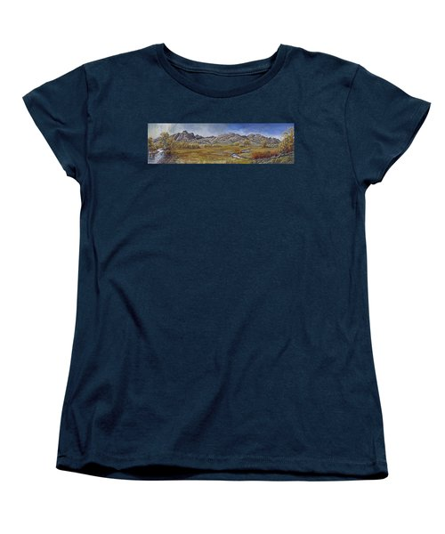 Women's T-Shirt (Standard Cut) featuring the painting River Mural Autumn View  by Dawn Senior-Trask