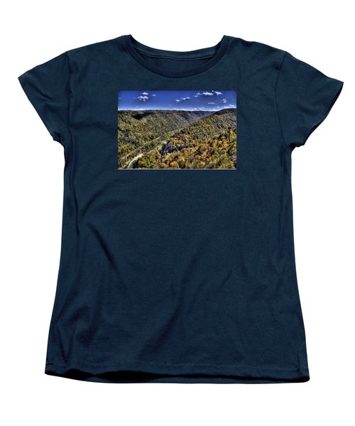 River Running Through A Valley Women's T-Shirt (Standard Cut) by Jonny D
