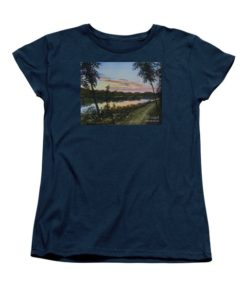 Women's T-Shirt (Standard Cut) featuring the painting River Sunset by Martin Howard