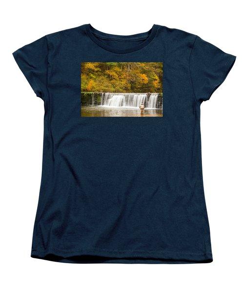 Women's T-Shirt (Standard Cut) featuring the photograph Rockbridge Fisherman by Steven Bateson