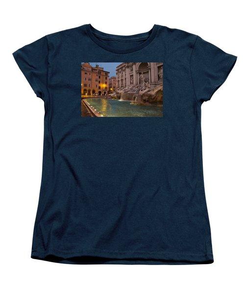 Rome's Fabulous Fountains - Trevi Fountain At Dawn Women's T-Shirt (Standard Cut) by Georgia Mizuleva