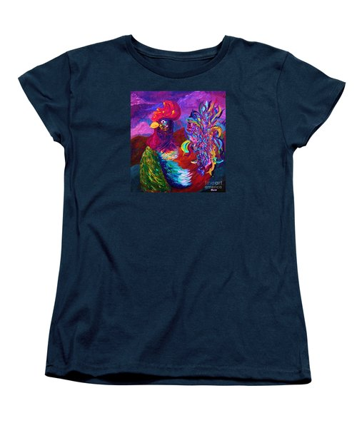 Women's T-Shirt (Standard Cut) featuring the painting Rooster On The Horizon by Eloise Schneider
