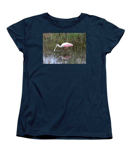 Roseate Spoonbill Reflection Women's T-Shirt (Standard Cut) by Carol Groenen