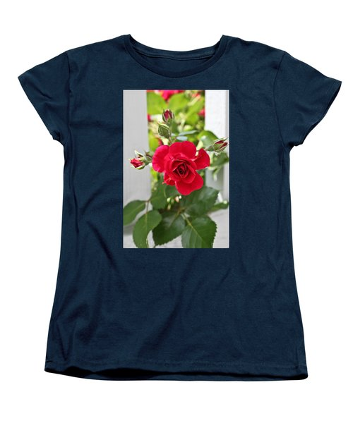 Women's T-Shirt (Standard Cut) featuring the photograph Roses Are Red by Joann Copeland-Paul