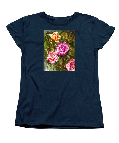 Women's T-Shirt (Standard Cut) featuring the painting Roses by Harsh Malik