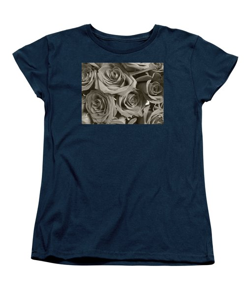 Women's T-Shirt (Standard Cut) featuring the photograph Roses On Your Wall Sepia by Joseph Baril