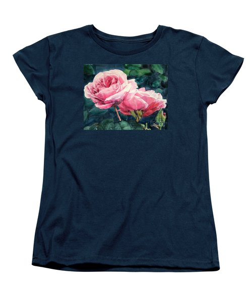 Pink Roses Wildebras Women's T-Shirt (Standard Cut) by Greta Corens