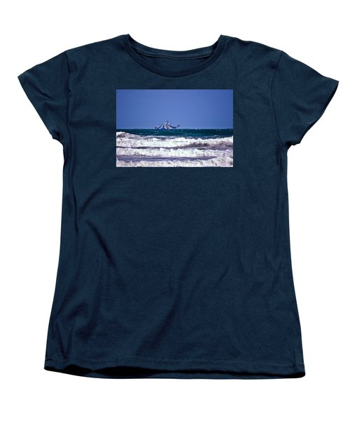 Women's T-Shirt (Standard Cut) featuring the photograph Rough Seas Shrimping by DigiArt Diaries by Vicky B Fuller