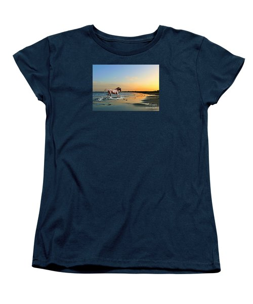 Women's T-Shirt (Standard Cut) featuring the mixed media Run Like The Wind by Morag Bates