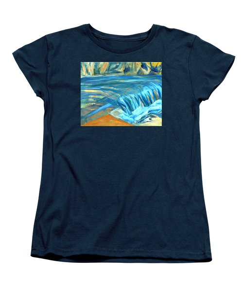 Women's T-Shirt (Standard Cut) featuring the painting Run River Run Over Rocks In The Sun by Betty Pieper
