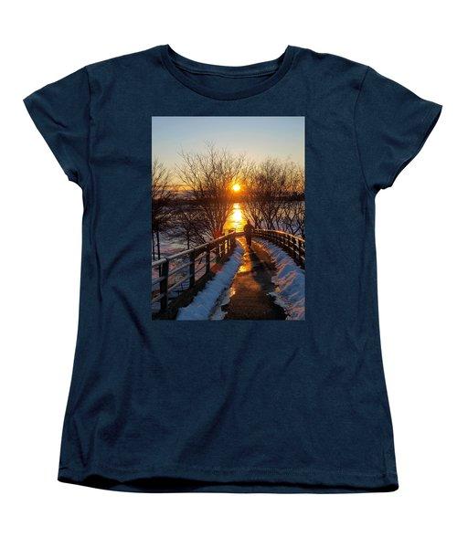 Running In Sunset Women's T-Shirt (Standard Cut) by Paul Ge