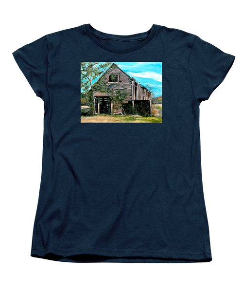Women's T-Shirt (Standard Cut) featuring the painting Rustic Barn - Mooresburg - Tennessee by Jan Dappen