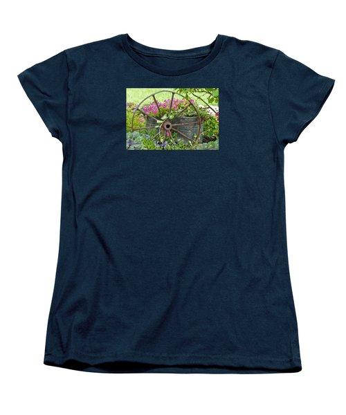 Women's T-Shirt (Standard Cut) featuring the photograph Rustic Wheel Digital Artwork by Sandra Foster