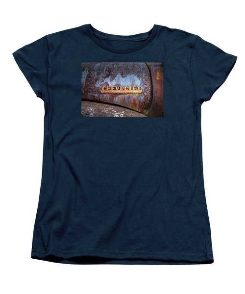 Women's T-Shirt (Standard Cut) featuring the photograph Rusty Chevrolet - Nameplate - Old Chevy Sign by Gary Heller