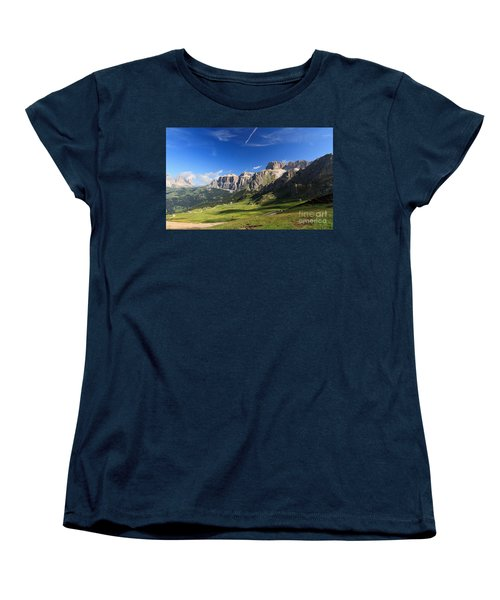 Saas Pordoi And Fassa Valley Women's T-Shirt (Standard Cut) by Antonio Scarpi