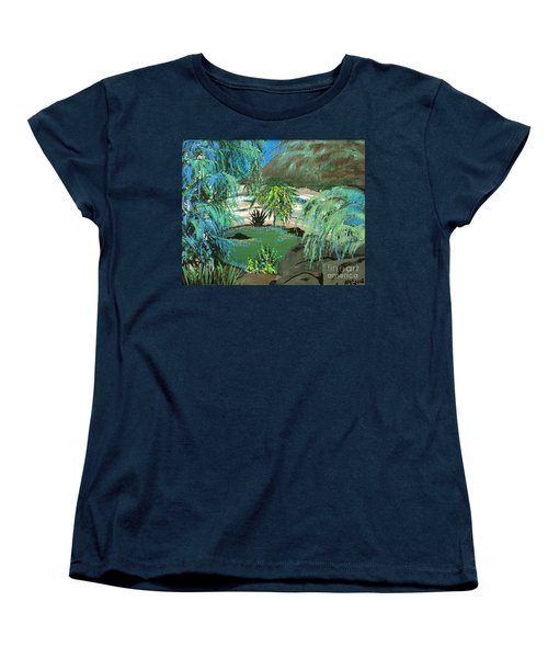 Women's T-Shirt (Standard Cut) featuring the painting Sacred Cenote At Chichen Itza by Alys Caviness-Gober