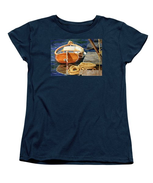 Women's T-Shirt (Standard Cut) featuring the painting Safe Mooring by Roger Rockefeller