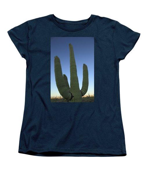 Women's T-Shirt (Standard Cut) featuring the photograph Saguaro Cactus At Sunset by Alan Vance Ley