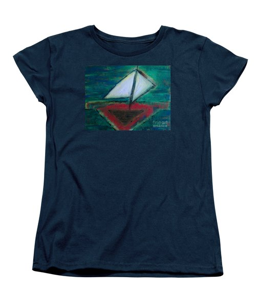 Women's T-Shirt (Standard Cut) featuring the painting Sailboat by Jacqueline McReynolds