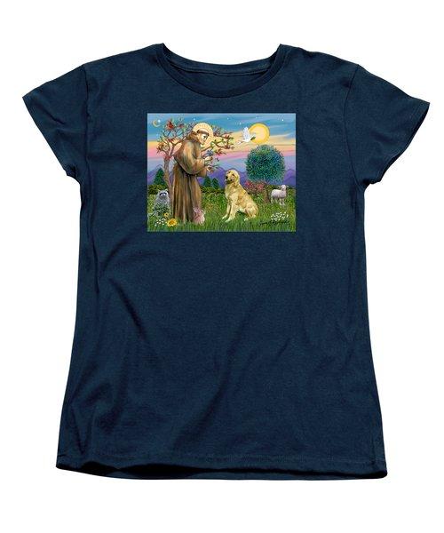 Saint Francis Blesses A Golden Retriever Women's T-Shirt (Standard Cut) by Jean Fitzgerald