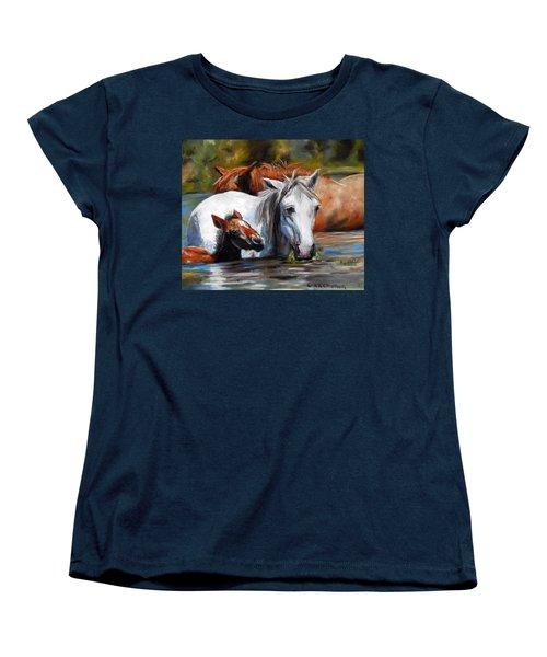 Women's T-Shirt (Standard Cut) featuring the pastel Salt River Foal by Karen Kennedy Chatham